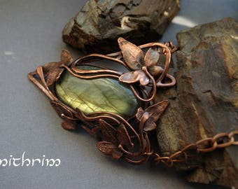 Leaf pendant Copper necklace Electroforming pendant metalsmith jewelry Boho necklace Botanical necklace labradorite Gift for her Mother