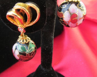 Gold Cloisonne' Earrings