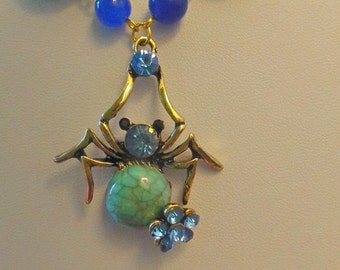 Turquoise and Sapphire Agate Spider Jewellery Set