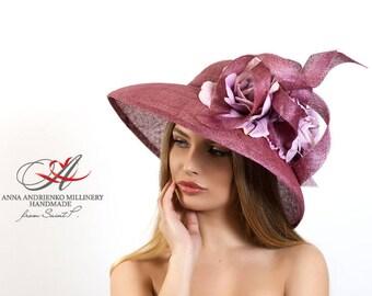 Lilac Light Purple Wine Wide Brim Fascinator Hat. Audrey Hepburn Kentucky Derby Hat. Church Hat, Wedding Hat, Women's summer hat, Formal Hat