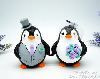Penguin Wedding Cake Toppers Purple Turquoise Themed-Custom Love bird Wedding Cake Toppers