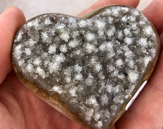 "Citrine Crystal Heart- Hand Carved Large 3"" X 3"" All Natural From Brazil- Home Decor \ Citrine Heart \ Crystal \ Reiki \ Citrine \ Heart"