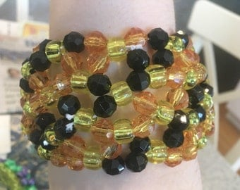 Sparkly double X base kandi cuff bracelet