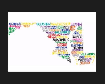Maryland Word Art Shirt- Maryland Shirt- Maryland Sweatshirt- Maryland Hoodie- Word Art- I Love Maryland- Maryland Gift- Home Sweet Home
