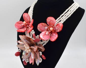 Pink Freshwater & Mother Of Pearl Crystal Hand Wired Beaded Satement Necklace.