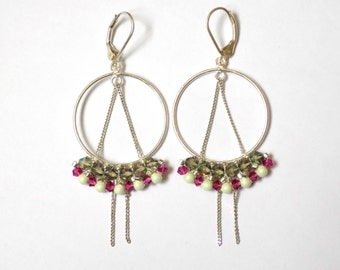 Silver hoops earrings with crystal beads shine, fuschia and pastel green