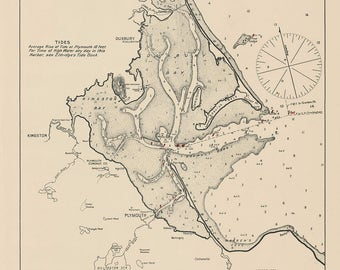 Plymouth, Kingston and Duxbury 1901 - Nautical Chart by Geo. Eldridge