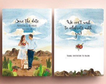 Custom illustrated save the dates,desert, portrait ,wedding invitation