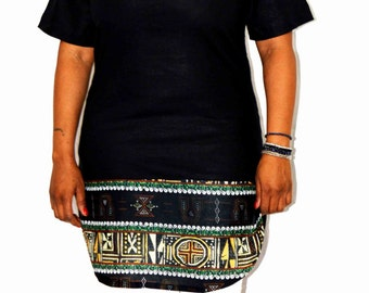 tunic in flax and African print fabric