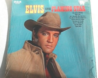 "Elvis Singing Flaming Star & Others 12"" Record LP Vinyl Album 1968 PRS-279 with original price and plastic protector"