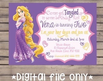 Tangled Birthday Invitation / Rapunzel Birthday Invitation / Tangled Rapunzel Birthday Invitation / Rapunzel Birthday Invite / Digital