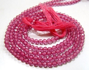 AAA Quality Natural Pink Topaz Beads , Rondelle Faceted 3mm Size Beads , Sold Per Strand of 13 inches long , Genuine Pink Topaz Gemstone