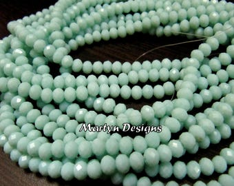 AAA Quality Light Amazonite Hydro Quartz 6mm Size Beads , Length 17 inches , approx. 100 Beads per Strand , Rondelle Faceted Amazonite Beads