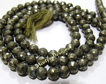 Super Fine Quality Natural Genine Pyrite Beads , Exclusive Pyrite Faceted Ball Shape 6mm Size Gemstone Beads , Length 13 inch, Micro Faceted