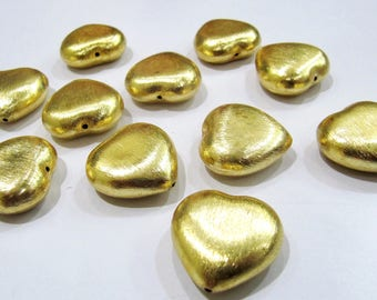 Set of 5 Pieces- Heart Shape Metal Beads , 24 kt Gold Plated Beads , Handmade Spacer Beads Size 25mm.