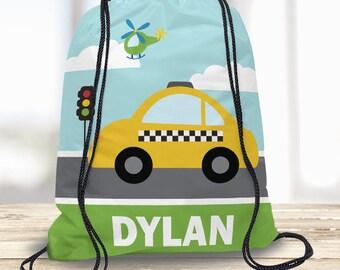 Transportation Cars Kids Personalized Drawstring Backpack, Boy Swim Tote Bag, Camp Bag, Beach Towel Bag, Dance Bag, Sports Bag Custom w Name