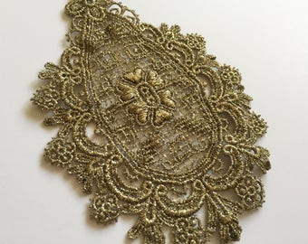 Metallic Antique Gold  Venise Lace Hearts & Flowers Design for Bodice Neckline Embellishment Wedding Sewing DIY Floral Lace Insert Dollies
