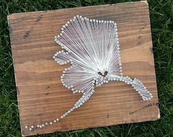 Alaska String Art, State string Art, Alaska Nail Art, Rustic Decor, custom sign, AK love, AK home, 12x13