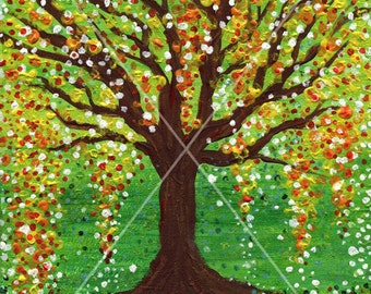 Tree of Life. Version 2. Energy acrylic painting. Spring, inspiration, creativity