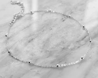 PENELOPE   Dainty Silver Ball Choker Necklace- Silver Layering Necklace- Gypsy Jewelry- Layering Choker- Festival Accessories