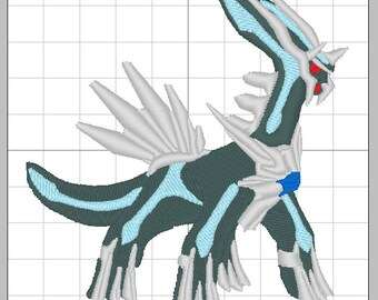 """Legendary Pokemon Dialga Embroidery Design in multiple formats 4""""x4"""""""