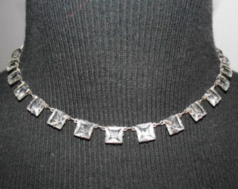 Edwardian Sterling Paste Riviere Deco Necklace Earring Set