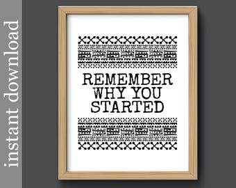 Inspiration Printable, Remember Why You Started, inspirational quote, dorm art, office art, motivational quote, writer gift, gift for him