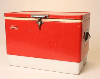 Vintage COLEMAN COOLER metal ice chest RED white cam latch 70s logo double handles mid century camping tailgate supplies gear 1978
