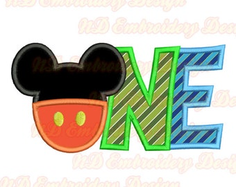 ONE Mickey Pants embroidery Applique Design,  mouse ears instant download, ms-128