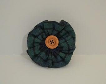 Green/Blue Plaid Flower Scarf Accessory