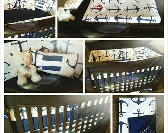 Navy Anchor Crib Bedding