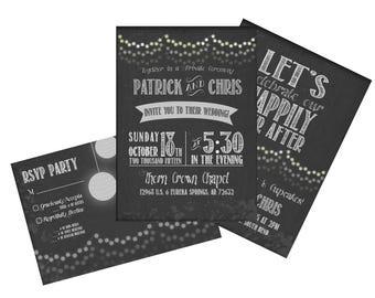 Rustic Twinkle Lights Invitation - 3 Card Set