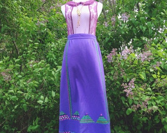 Vintage 1970s Midge Grant Periwinkle Maxi Skirt/ Purple Bohemian Long High Waisted Skirt/ Gypsy Skirt with Floral Details Size S-M