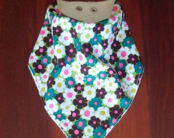 Bandana Bib, Dribble Bib, Teething Bib, Drool Bib from birth to toddler, Bamboo Lined.