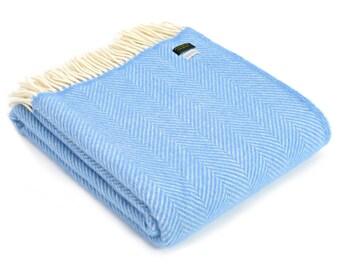 Sea Blue Fishbone Wool Blanket