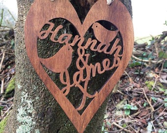 Personalised Wooden Heart Wall Art - Wedding Valentine's Day Gift Wooden Heart Plaque Personalized Anniversary Present