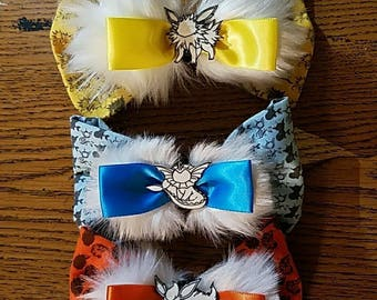 EEVEELUTION HAIR BOW, Flareon, Vaporeon, Jolteon.
