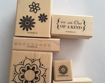 STAMPIN' UP! *One of a Kind* Retired 6 mounted Rubber stamps.
