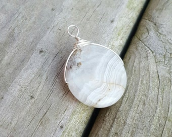 Gemstone Coin Pendant, Sterling Wrapped Pendant, OOAK Sterling Charm Only 1 Available!