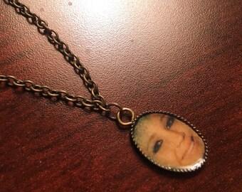 "Jennifer Lawrence Charm Necklace on 24"" Antique Brass Chain"