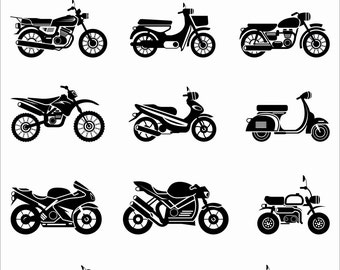 Motorcycles Bike Harley Davidson Chopper Silhouette Vector Clipart PNG EPS Set Digital Files Scrapbook Supplies Clip Art Instant Download