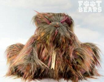 Sale! - Artist Teddy Bear 'Prunella' multi & purple faux fur, cashmere OOAK hand crafted - My Bear Foot Bears