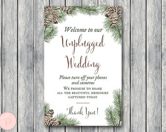 Pinecone Unplugged Wedding Sign, Unplugged Ceremony Sign, Printable Wedding Sign, Printable sign, Wedding decoration sign WS73 TH54