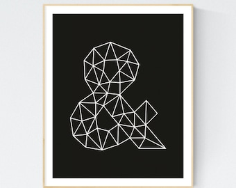 Ampersand print, Typographic art, printable wall art,  Art Print Digital, Home Decor, Black and White, Office Wall Art, Poster, Decoration
