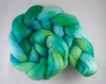 Hand Dyed Spinning fiber top, hand dyed wool, wool roving, Corriedale, green, blue, 100g