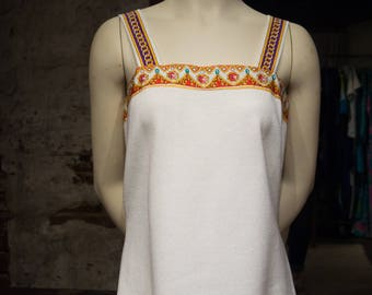 Vintage Anthony Sicari White Tank Top with Embellished Trim and Orange Yellow Green and Purple Straps
