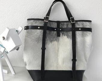 Large calfhide tote bag, shoulder bag, handbag