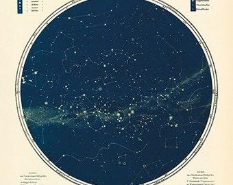 Vintage mapa estrella - Astronomía Poster - cartel - hemisferio sur Fine Art Print - astrología vía Láctea grabado - Museo calidad