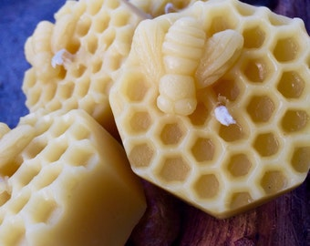 Honeycomb w/honeybee pure beeswax candle-natural beeswax or Vanilla scented-set of 3 votive beeswax candles-honeycomb beeswax candles