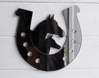 2 Horses in Horseshoe Acrylic Mirror
